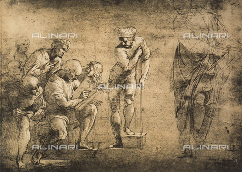 DIS-F-004003-0000 - Study for the School of Athens; drawing by Raphael, Graphische Sammlung Albertina, Vienna