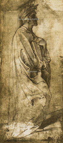 DIS-F-004007-0000 - Full-length portrait of the poet Dante in profile; drawing by Raphael, Graphische Sammlung, Albertina, Vienna