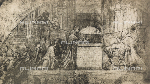 DIS-F-004008-0000 - Preparatory study for the fresco with the mass of Bolsena; drawing by Raphael, Albertina, Vienna