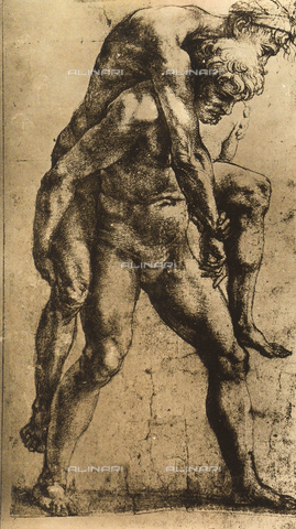 DIS-F-004011-0000 - Aeneas carrying his father Anchises on his shoulders; preparatory study for the frescoes in the Incendio Room. Drawing by Raphael in the Albertina Gallery in Vienna