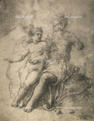 DIS-F-004014-0000 - Venus shows her wounds to Cupid; drawing by Raphael, Graphische Sammlung, Albertina, Vienna