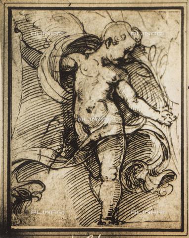 DIS-F-004021-0000 - Studio per la figura di un putto; disegno di Raffello, Graphische Sammlung, Albertina, Vienna