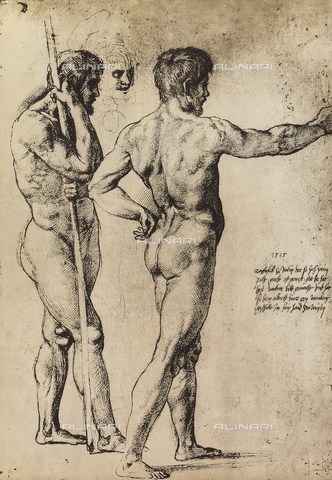 DIS-F-004023-0000 - Due uomini nudi in piedi, Graphische Sammlung, Albertina, Vienna