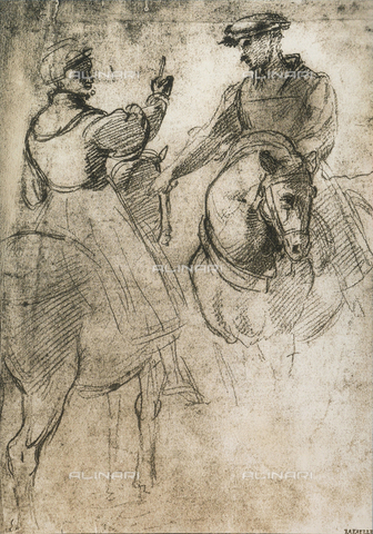DIS-F-004024-0000 - Two cavaliers; drawing by Raphael, Graphische Sammlung, Albertina, Vienna