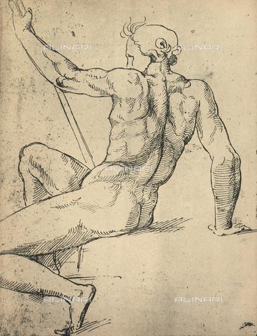 DIS-F-004025-0000 - Uomo nudo seduto, visto da tergo; disegno di Raffello, Graphische Sammlung, Albertina, Vienna