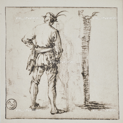 DIS-F-00740C-0000 - The pisseur (the Piscione) (study for the dell'Impruneta Fair), design, Jacques Callot (1592-1635), Department of Drawings and Prints, Uffizi Gallery, Florence