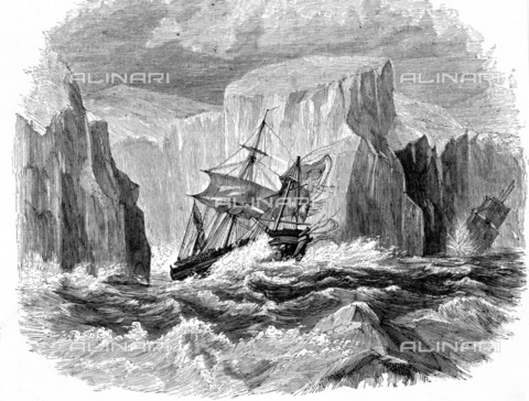 "EVA-S-001005-8682 - The ships ""Erebus"" and ""Terror"" stranded in the pack ice, engraving taken from the book ""Ross's Antarctic Voyage"" of 1839-1843 - © Mary Evans / Alinari Archives"