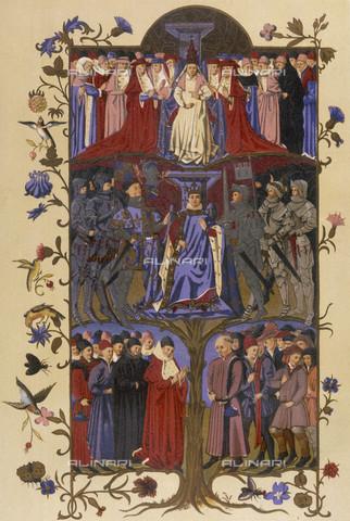 """EVA-S-001007-8577 - I tre stati francesi: il clero, la nobiltà, il popolo, pagina miniata tratta dal volume """"Arbre des Batailles"""" (1450) - © Mary Evans / Archivi Alinari"""
