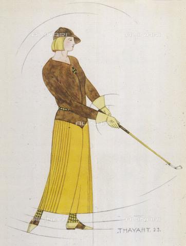 EVA-S-001008-6517 - Giovane donna gioca a golf indossando un modello di Madeleine Vionnet; stampa di Thayart - © Mary Evans / Archivi Alinari