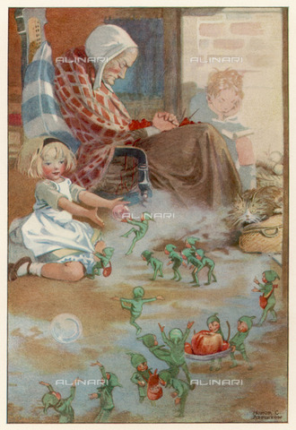 "EVA-S-001017-2679 - Una bambina gioca con i suoi amici fatati sotto gli occhi meravigliati del gatto, mentre la madre dorme e il fratello legge, illustrazione a stampa di Honor C. Appleton (1879–1951)) per ""The Book of English Verse"", 1926 - © Mary Evans / Archivi Alinari, Honor C Appleton / Mark Furness"