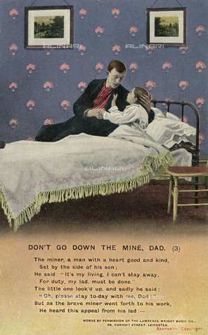 "EVA-S-001019-1430 - ""Don't go down the mine, dad"" (""Don't go to the mine, dad""): the father tells his son that he has to go to work, despite the premonitory dream of his son ..., postcard of the Bamforth series, 1900 ca. - Honor C Appleton / Mark Furness / © Mary Evans / Alinari Archives"