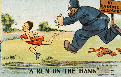 "EVA-S-001029-6796 - ""A Run on the Bank"": a policeman chases a boy who violated the warning not to bathe; humorous postcard - Grenville Collins Postcard Collection / © Mary Evans / Alinari Archives"