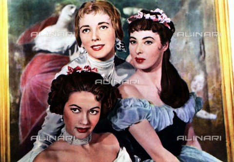 "EVA-S-001032-9650 - The actresses Valentina Cortese in the role of Mathilde Wesendonke, Rita Gam in the role of Cosina Liszt and Yvonne De Carlo as Minna Planer in the film ""Magic fire"" of 1956 - Data dello scatto: 1956 - Republic pictures/Ronald Grant Archive / © Mary Evans / Alinari Archives"