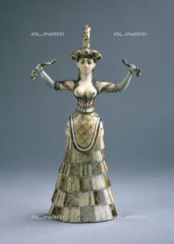 EVA-S-001050-0372 - Dea o sacerdotessa dei serpenti, maiolica, arte minoica di Cnosso (Creta), Ashmolean Museum, Oxford - Ashmolean Museum / © Mary Evans / Archivi Alinari