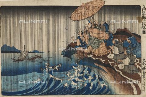 EVA-S-001050-5402 - La preghiera per la pioggia del sacerdote Nichiren a Kamakura nel 1271, inchiostro su carta, Utagawa Kuniyoshi (1797-1861), Ashmolean Museum, Oxford - © Mary Evans / Archivi Alinari, Ashmolean Museum