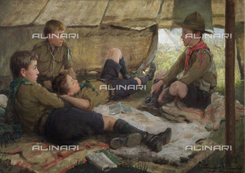 "EVA-S-001052-9313 - ""Ripping Yarn"": un gruppo di boy scout in tenda, olio su tela, Carlos Ernest Stafford  (1883-1917) - © Mary Evans / Archivi Alinari, The Scout Association"