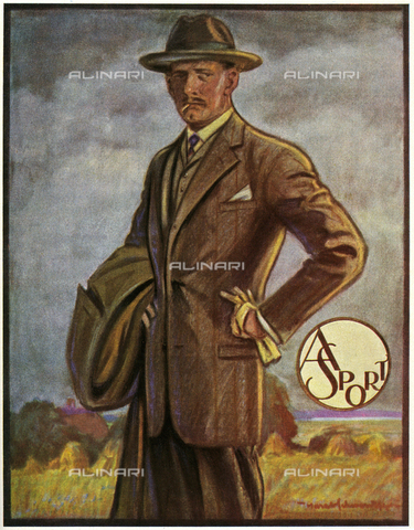 EVA-S-001057-3229 - Uomo elegante con un abito di tweed, illustrazione a stampa per una rivista di moda, 1925 - © Mary Evans / Archivi Alinari, Peter & Dawn Cope Collection