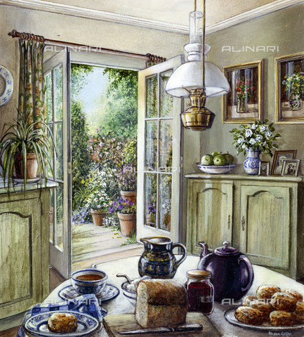 EVA-S-001063-7462 - Tea and muffins in the kitchen, oil on canvas, Alison Griffin - Medici / © Mary Evans / Alinari Archives