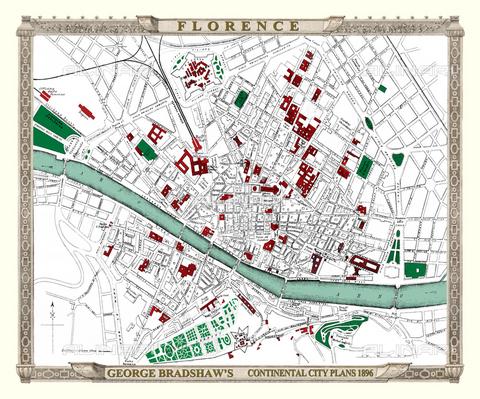 EVA-S-001081-2043 - Mappa della città di Firenze, George Bradshaw (1800-1853), originariamente pubblicata da Bradshaw e Blacklock in un supplemento alla Guida europea delle ferrovie di Bradshaw nel 1896 - Mapseeker Publishing / © Mary Evans / Archivi Alinari