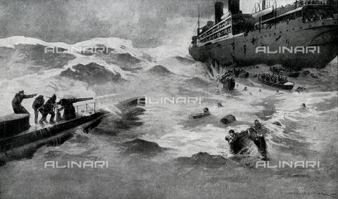 """EVA-S-001094-4069 - L'affondamento della nave di immigrati italiani """"Ancona"""" bombardata durante la Prima Guerra Mondiale nel 1915, illustrazione - © Mary Evans / Archivi Alinari"""
