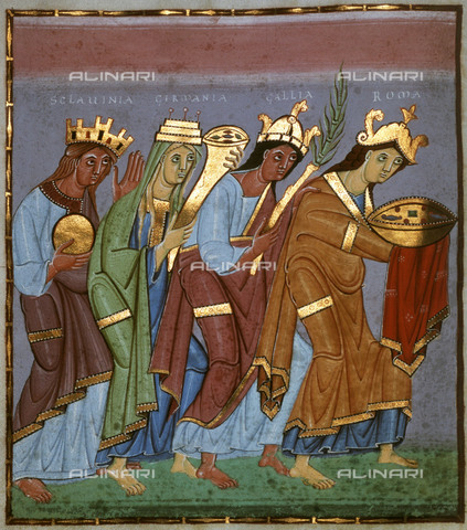 EVA-S-001105-2850 - The Provinces pay homage to the Emperor Otto III, miniature of the Gospels of Henry XII of Bavaria, called Henry the Lion (1129-1195), Romanesque art - Hubertus Kanus / © Mary Evans / Alinari Archives