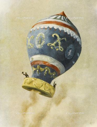 """EVA-S-001200-4833 - Jean-François Pilâtre de Rozier e François Laurent LeVieux, marchese d'Arlandes, durante il primo volo in mongolfiera con equipaggio, Parigi, 21 novembre 1783; illustrazione pubblicata su """"La conquete du Ciel"""", Alex Walter Diggelmann (1902 – 1987) - © Mary Evans / Archivi Alinari"""