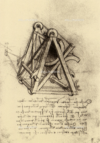 EVA-S-001294-8016 - Macchinario per versare il bronzo fuso, disegno, Leonardo da Vinci (1452-1519) - © Mary Evans / Archivi Alinari, The Pictures Now Image Collection