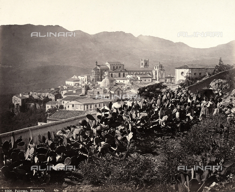 FBQ-A-006106-0016 - View of Monreale in Palermo, with the cathedral in the centre of the town - Data dello scatto: 1880 ca. - Archivi Alinari, Firenze