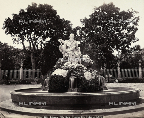 FBQ-A-006106-0028 - Fountain with Genius in Palermo, in the garden of Villa Giulia in Palermo - Data dello scatto: 1880 ca. - Archivi Alinari, Firenze