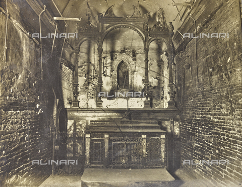 """FBQ-A-006160-0002 - Album """"The New Works in the Santa Casa di Loreto / Homage of the architect Guido Cirilli"""": """"The interior immediately after the fire"""" - Date of photography: 1919-1920 - Fratelli Alinari Museum Collections, Florence"""