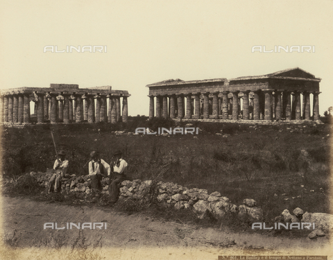 FBQ-A-006171-0031 - Paestum, view of the Basilica and the Temple - Data dello scatto: 1865 ca. - Archivi Alinari, Firenze