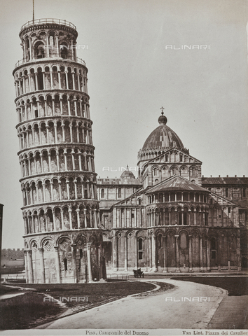 "FBQ-A-006180-0031 - Album ""Italie 1882, Naples, Pise, Gênes, Corniche"": View of the Tower and the apse of the Cathedral of Santa Maria Assunta in Pisa - Data dello scatto: 1870-1882 - Archivi Alinari, Firenze"