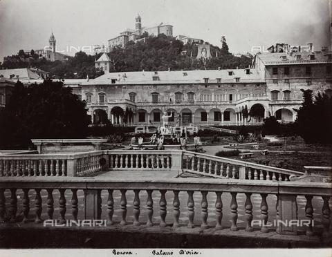 FBQ-F-001147-0000 - Doria Pamphilj Palace, Genoa. In the foreground, a balustrade and the garden with Neptune's fountain - Data dello scatto: 1870 ca. - Archivi Alinari, Firenze