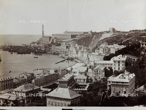 FBQ-F-001172-0000 - Panorama of the port of Genoa. In the foreground houses and a stretch of sea with numerous boats at anchor. In the background the Lanterna or medieval lighthouse - Data dello scatto: 1870 - 1880 ca. - Archivi Alinari, Firenze