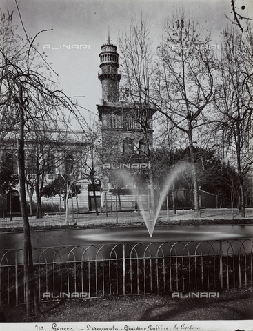 FBQ-F-001179-0000 - View of the public gardens of Acquasola in Genoa (1821). In the foreground, the pool. In the background, beyond a tree-lined street, houses - Data dello scatto: 1870 -1890 ca. - Archivi Alinari, Firenze