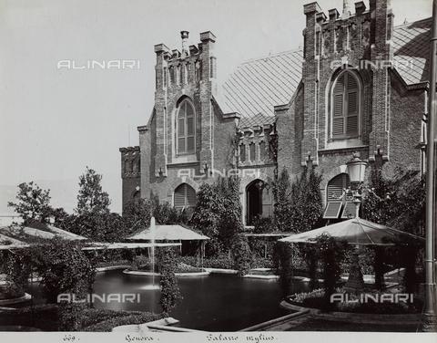 FBQ-F-001182-0000 - The neogothic back facade of Villa Mylius in Genoa. In the foreground the large pool in the garden - Data dello scatto: 1870 -1880 ca. - Archivi Alinari, Firenze
