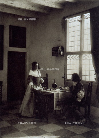 FBQ-F-002121-0000 - Interno domestico con personaggi in costume seicentesco - Data dello scatto: 1910 ca. - Raccolte Museali Fratelli Alinari (RMFA), Firenze