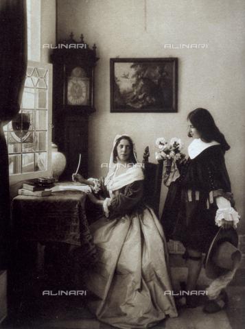 FBQ-F-002122-0000 - Interno domestico con personaggi in costume seicentesco - Data dello scatto: 1910 ca. - Archivi Alinari, Firenze