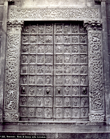 FBQ-F-002129-0000 - Bronze door originally in the Porta Mediana of Benevento Cathedral. The fragments which survived from the bombings are now in the the Capitular Library in Benevento - Data dello scatto: 1870 - 1875 ca. - Archivi Alinari, Firenze