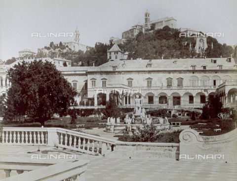 FBQ-F-002774-0000 - Doria Pamphilj Palace in Genoa: in the foreground, view of the Italian gardens with the Fountain of Neptune and a large tree; in the background, the hill of Granarolo with buildings and churches - Data dello scatto: 1870 -1890 - Archivi Alinari, Firenze