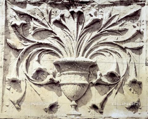 FBQ-F-003135-0000 - Vaso con fiori di amarillide, particolare dell'altare della Chiesa di S. Maria del Popolo a Roma, opera marmorea di Andrea Bregno - Data dello scatto: 1860 - 1870 - Raccolte Museali Fratelli Alinari (RMFA), Firenze