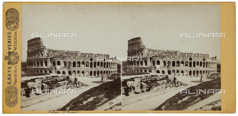 FBQ-F-004303-0000 - View of Colosseum and Meta Sudans in Rome. Stereoscopic photograph - Data dello scatto: 1900 ca. - Archivi Alinari, Firenze