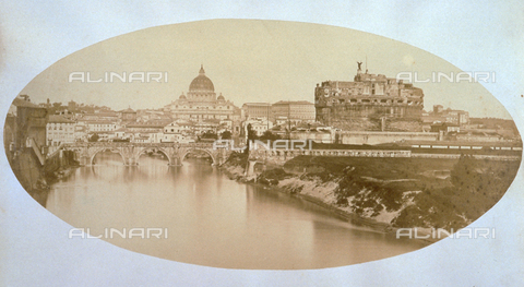 FBQ-F-004444-0000 - View of Rome. In the foreground the Tiber crossed by Ponte Sant'Angelo, on the right the hill of Castel Sant'Angelo, on the left the Apollo Theater and on the background the dome of San Pietro - Data dello scatto: 1858 ca. - Archivi Alinari, Firenze