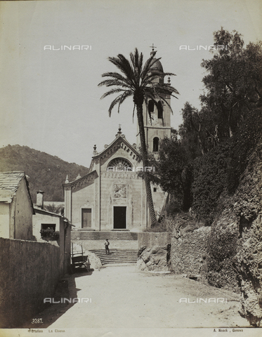 FBQ-F-004927-0000 - The Church of San Giorgio and the square in front in Portofino. In the foreground, a road of the seaside hamlet flanked by small houses and oltve Trees - Data dello scatto: 1870 -1880 ca. - Archivi Alinari, Firenze