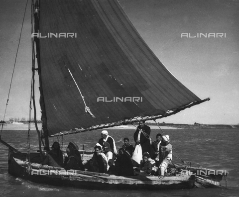 FCA-F-000158-0000 - Barca con vela sul fiume Nilo, Egitto - Data dello scatto: 1950-1960 - Archivi Alinari, Firenze