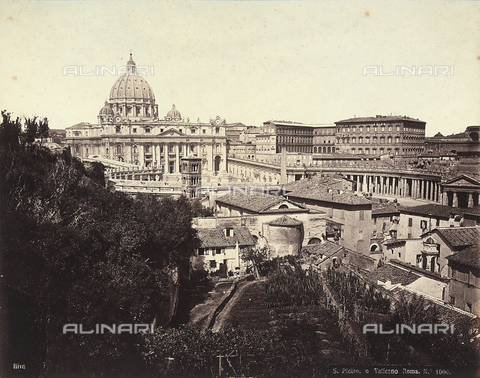 FCC-F-010094-0000 - Panoramic view of Saint Peter's Basilica and Bernini's colonnade, Vatican City - Data dello scatto: 1865 - 1870 ca. - Archivi Alinari, Firenze