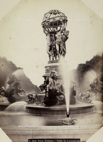 FCC-F-011350-0000 - Fountain at the observatory in the Luxembourg Garden in Paris, designed by Davioud, adorned with seahorses and Fremiet turtles and the four parts of the earth, sculpted by Carpeaux. - Data dello scatto: 1860-1880 ca. - Archivi Alinari, Firenze