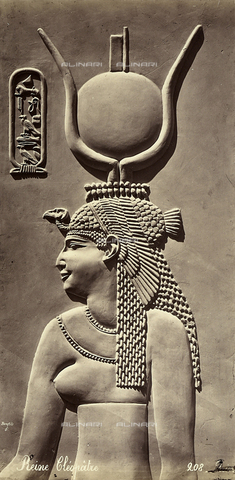 FCC-F-014299-0000 - Egyptian bas-relief reproducing a bust of Cleopatra - Date of photography: 1868 - Fratelli Alinari Museum Collections-Favrod Collection, Florence