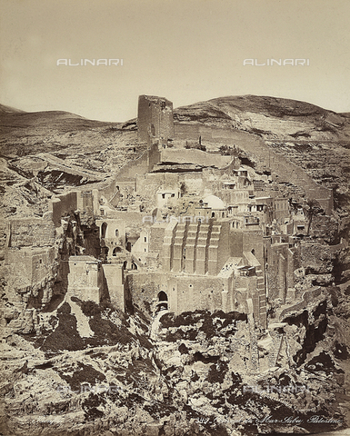 FCC-F-014337-0000 - View of the Mar Saba Convent, in Isreal - Date of photography: 1870 ca. - Fratelli Alinari Museum Collections-Favrod Collection, Florence