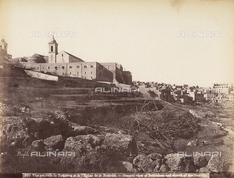 FCC-F-014384-0000 - Panoramic view of Bethlehem with the Cathedral of the Nativity - Date of photography: 1870 ca. - Fratelli Alinari Museum Collections-Favrod Collection, Florence